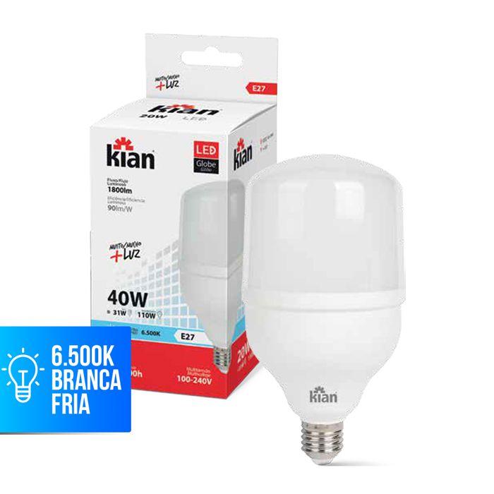 Lâmpada LED Globe E27 40W Bivolt Branca Kian