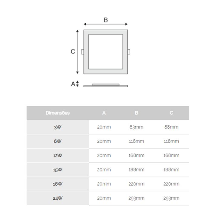 Luminária de Embutir LED Quadrada Slim 3w 6000k Branca Kian