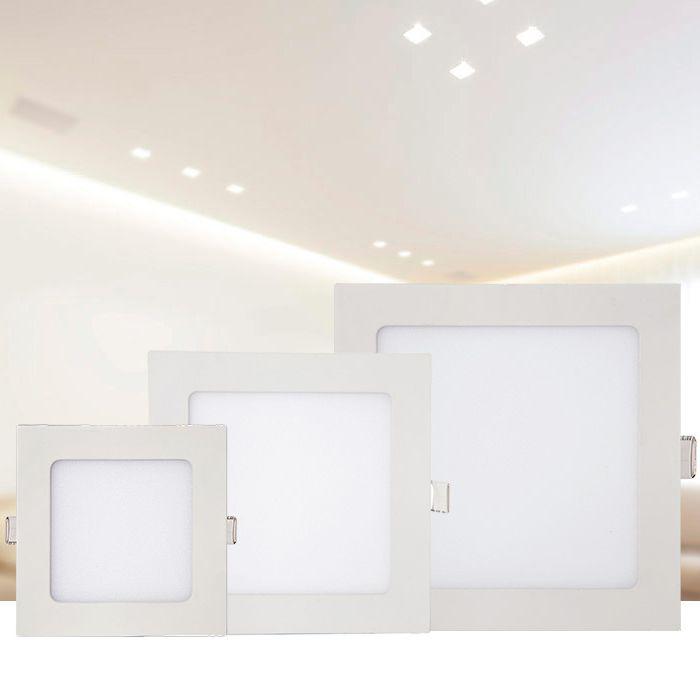 Luminária de Embutir LED Quadrada Slim 6w 3000k Amarelo Kian