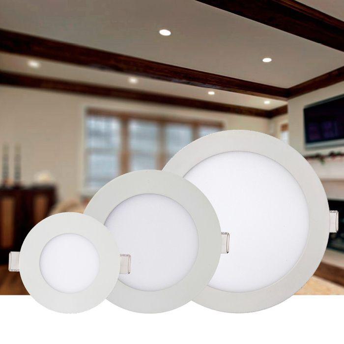 Luminária de Embutir LED Redonda Slim 24w 3000k Amarela Kian