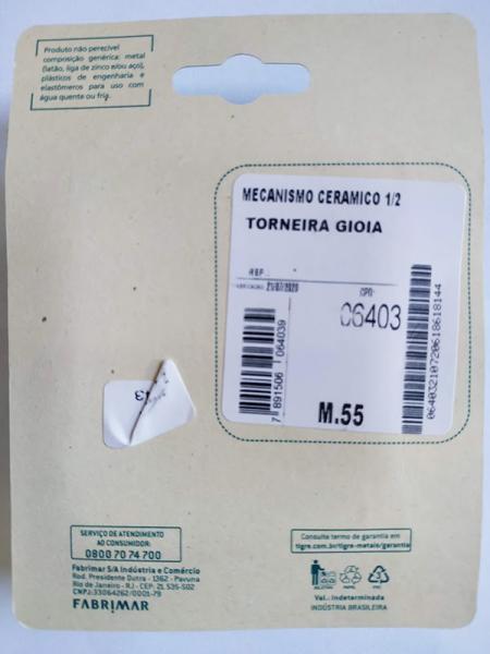 Mecanismo Ceramico 1/2 Torneira Gioia Fabrimar