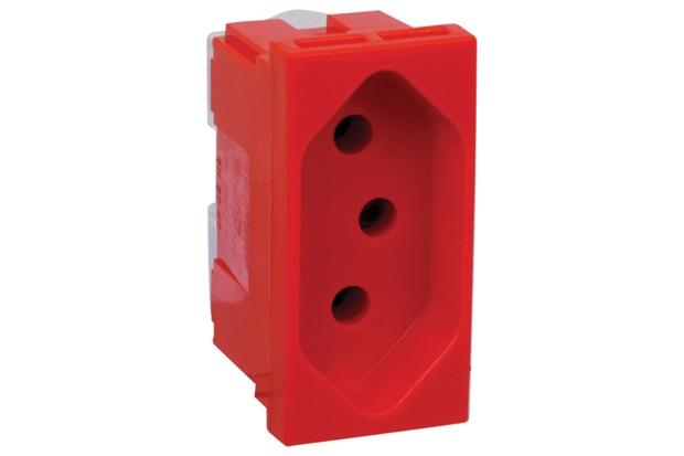 Pial Plus + Modulo Tomada 2P+T 10A Vermelho