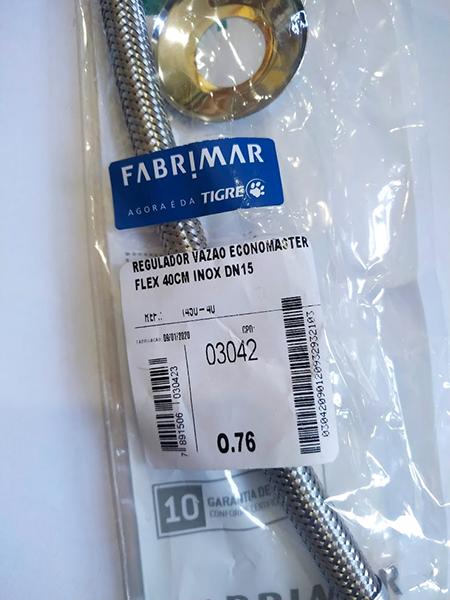 Regulador Vazão Economaster Flexivel 40Cm Inox