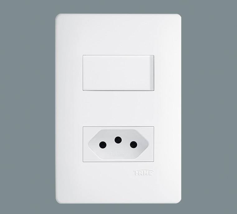 Fame Habitat Tomada Padrão 10A + Interruptor Simples