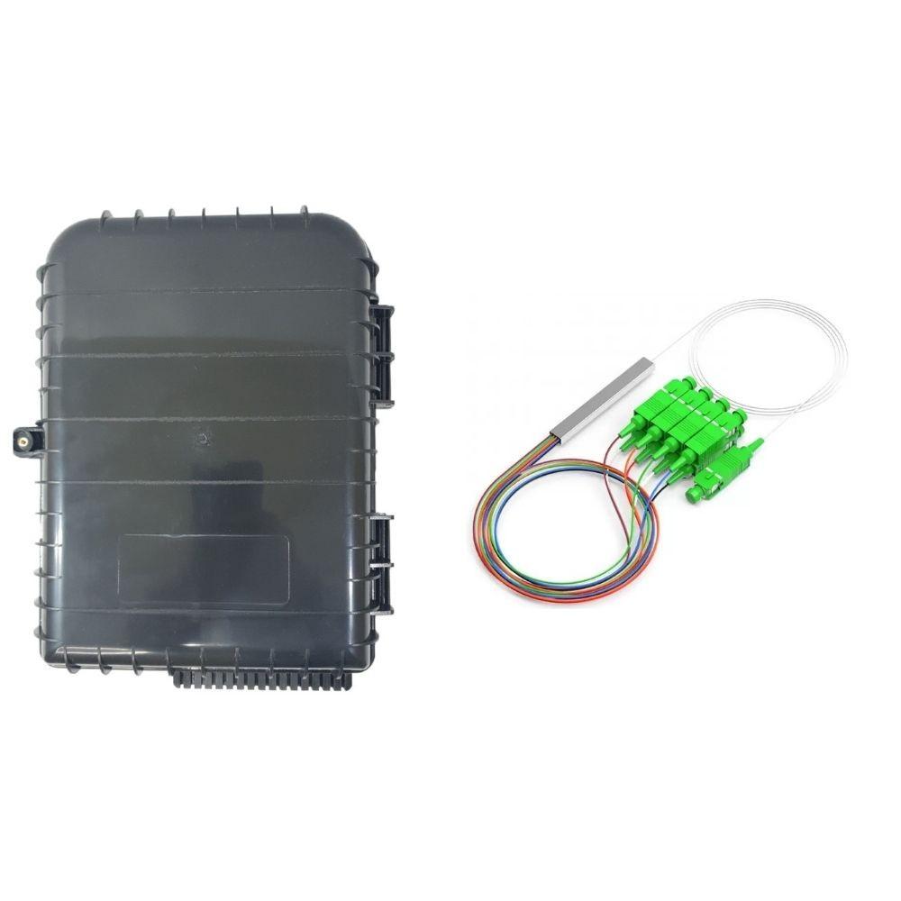 10 Caixa de Atendimento Óptico CTO 16 Portas 1x16 GALEGO + 10 Splitter 1x8 SC APC NAZDA