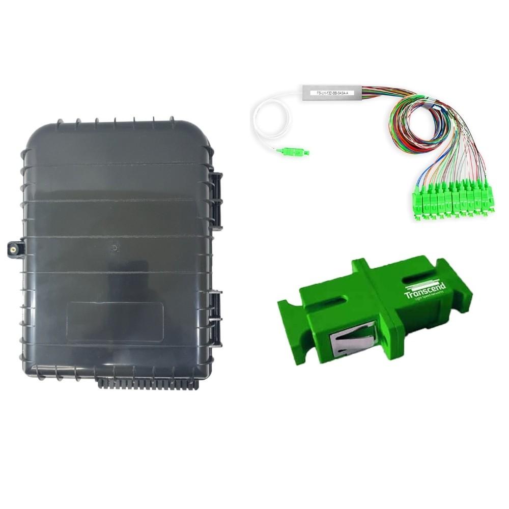 10 Caixa de Atendimento Óptico CTO 16 Portas GALEGO + 10 Splitter 1x16 SC APC 2FLEX + 160 Adaptador SC APC TRANSCEND