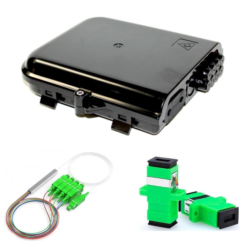 10 CTO 8 Portas 2FLEX + 80 Adaptador SC APC NAZDA + 10 Splitter 1x8 SC NAZDA