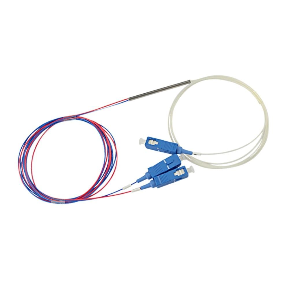 10 Splitter Óptico 1x2 Desbalanceado 20 80 Conectorizado SC UPC TRANSCEND