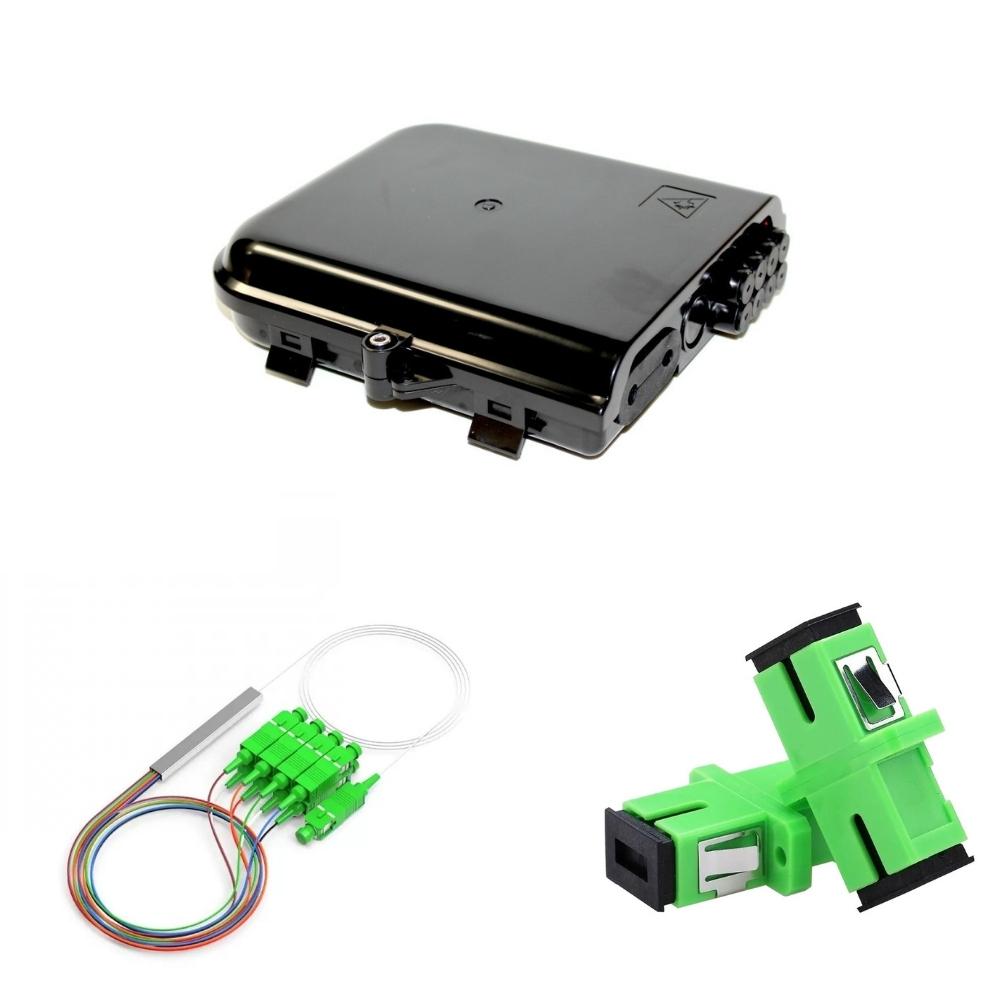 5 Caixas de Terminação Optica CTO com Splitter 1x8 SC APC