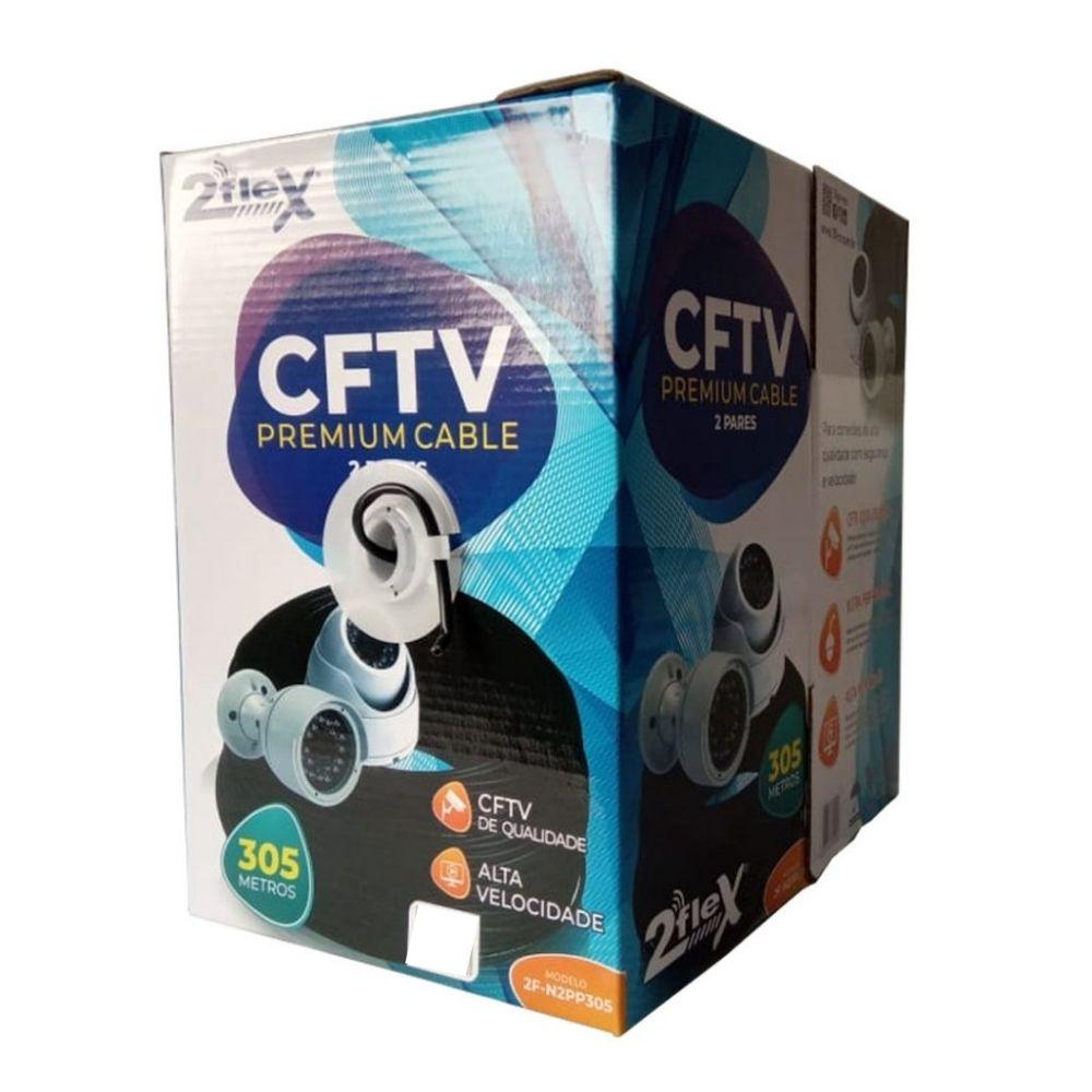 Cabo de Rede Cat5e CFTV 2 Pares Premium 305 M Preto 2FLEX