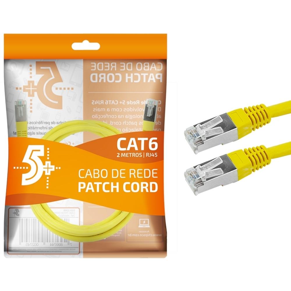 Cabo de Rede Patch Cord Cat6 BLINDADO FTP 2M AMARELO 5+