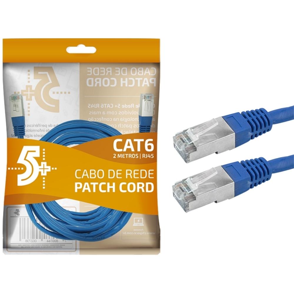 Cabo de Rede Patch Cord Cat6 BLINDADO FTP 2M AZUL 5+