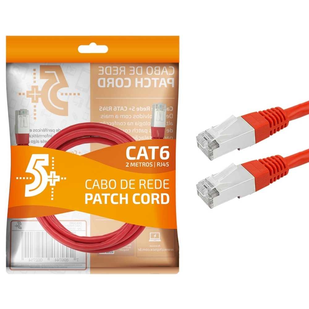 Cabo de Rede Patch Cord Cat6 BLINDADO FTP 2M VERMELHO 5+