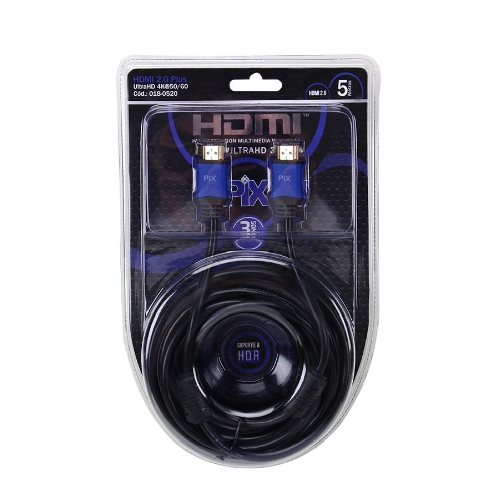 Cabo HDMI 2.0 4K ULTRA HD 3D HDR 19 PINOS COM FILTRO 5 M PIX