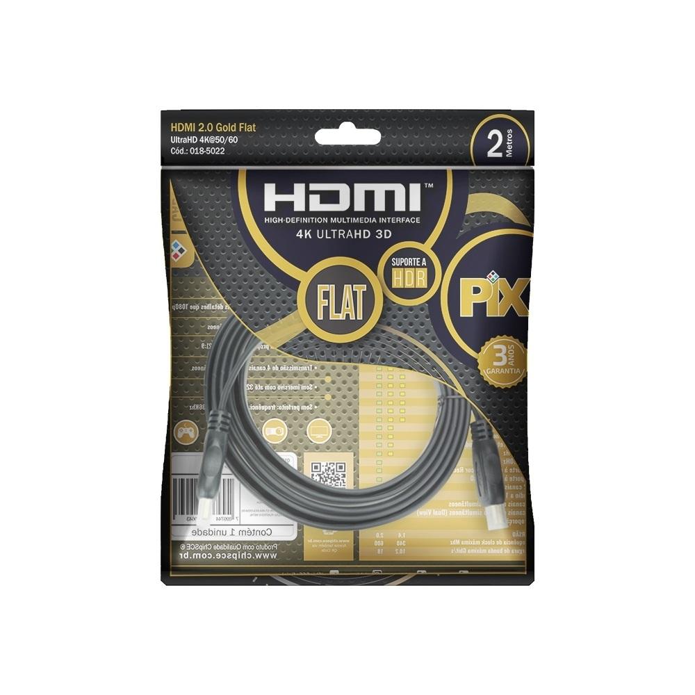 Cabo HDMI Flat 2.0 HDR 19 Pinos 4K ULTRAHD 2 M PIX