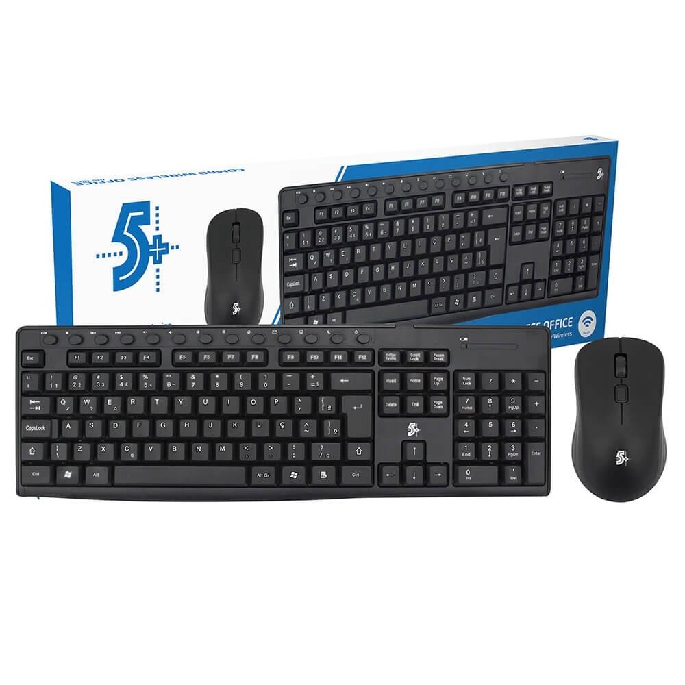 Combo Teclado + Mouse Wireless (Sem fio) OFFICE KW-500 5+