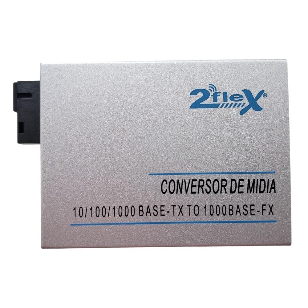 Conversor de Mídia Fibra Óptica RJ45 GIGABIT Lado B 10 KM 2FLEX