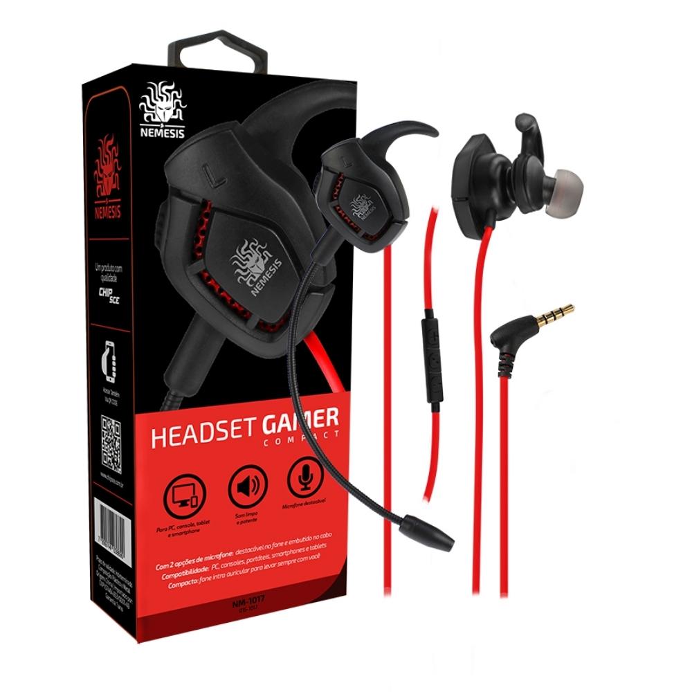 Headset GAMER Compact Com Microfone Destacável NEMESIS