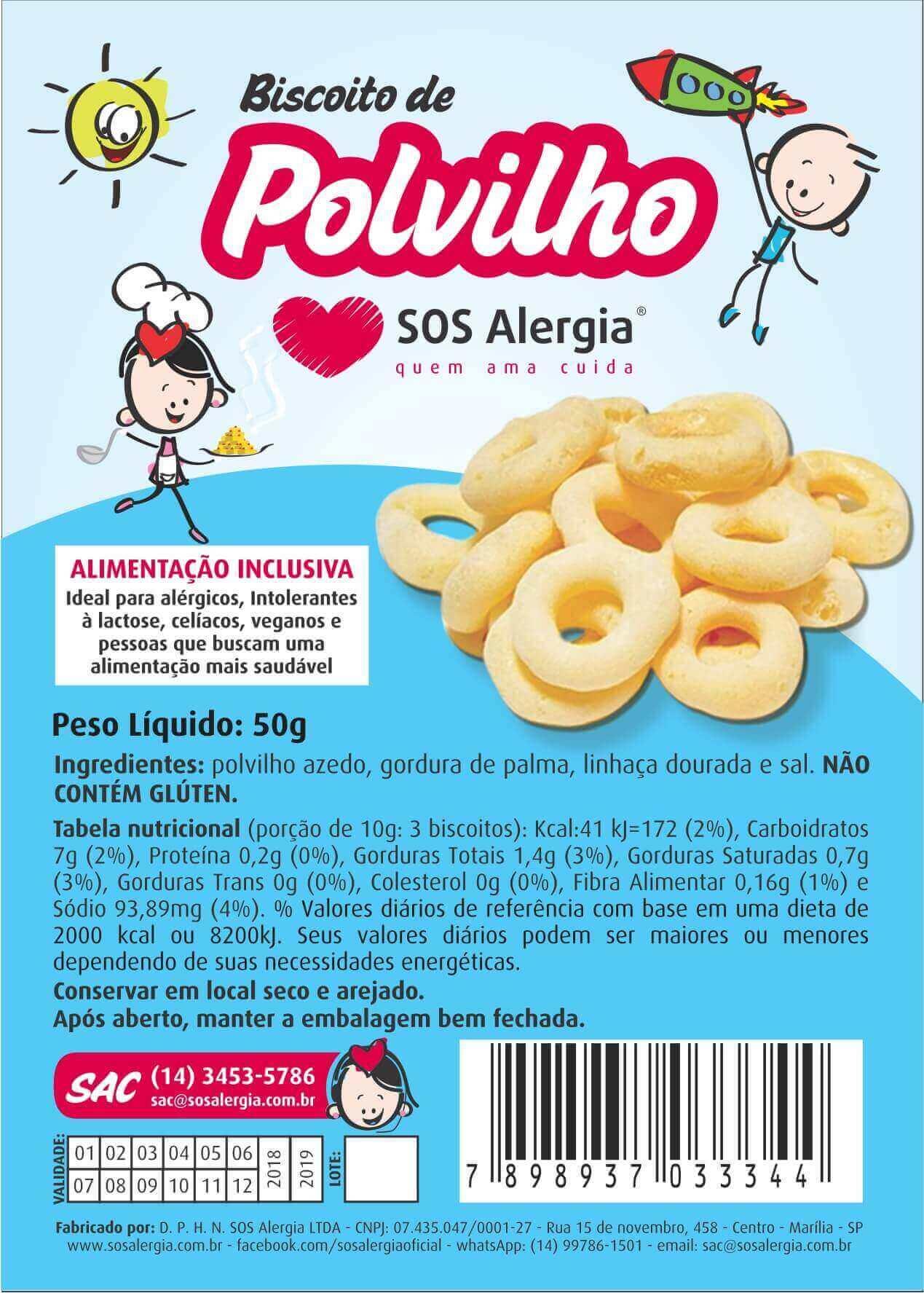 Biscoito de polvilho Sem leite, ovos, soja e glúten 50g