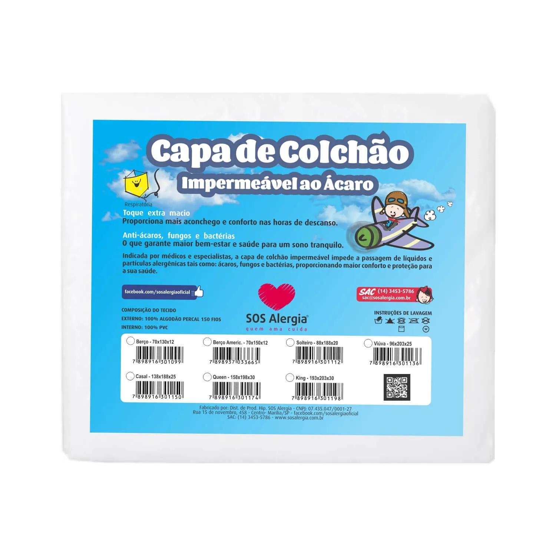 Capa Antiácaro Colchão Casal King 203x193x30