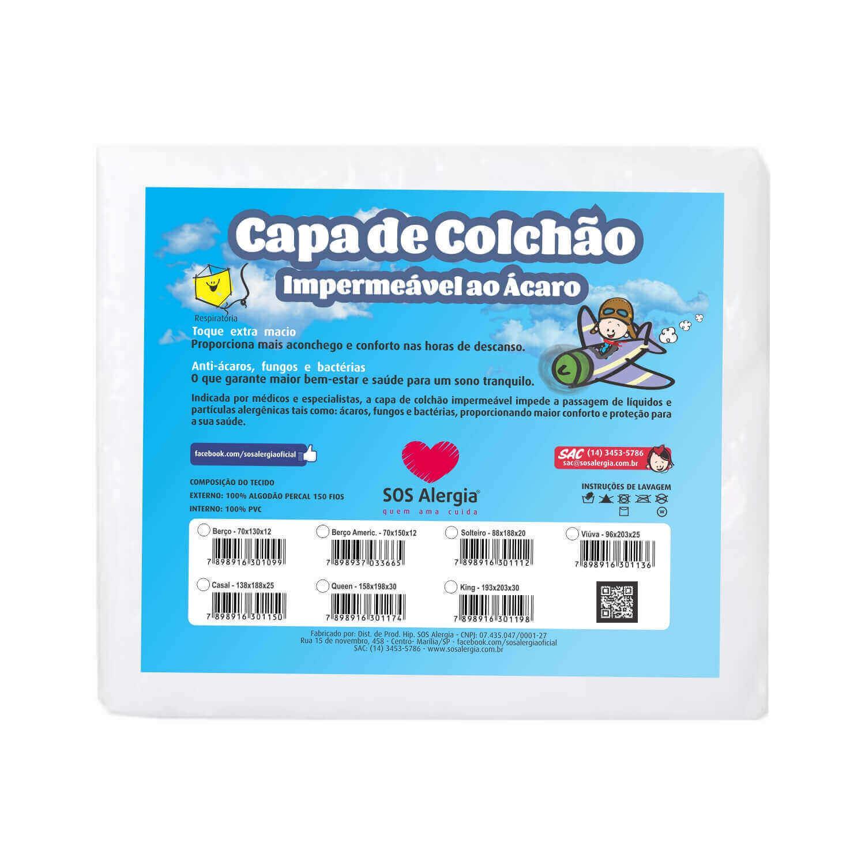 Capa Antiácaro Colchão Solteiro 188x88x20
