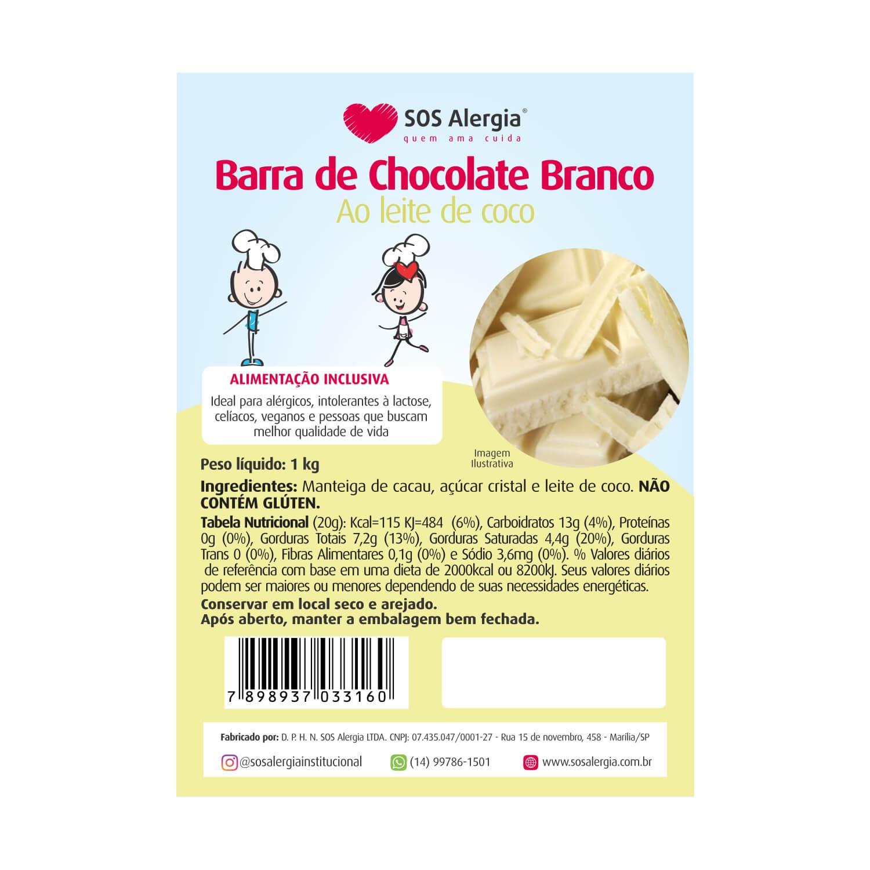 Barra de Chocolate Branco Sem Leite 1 kg