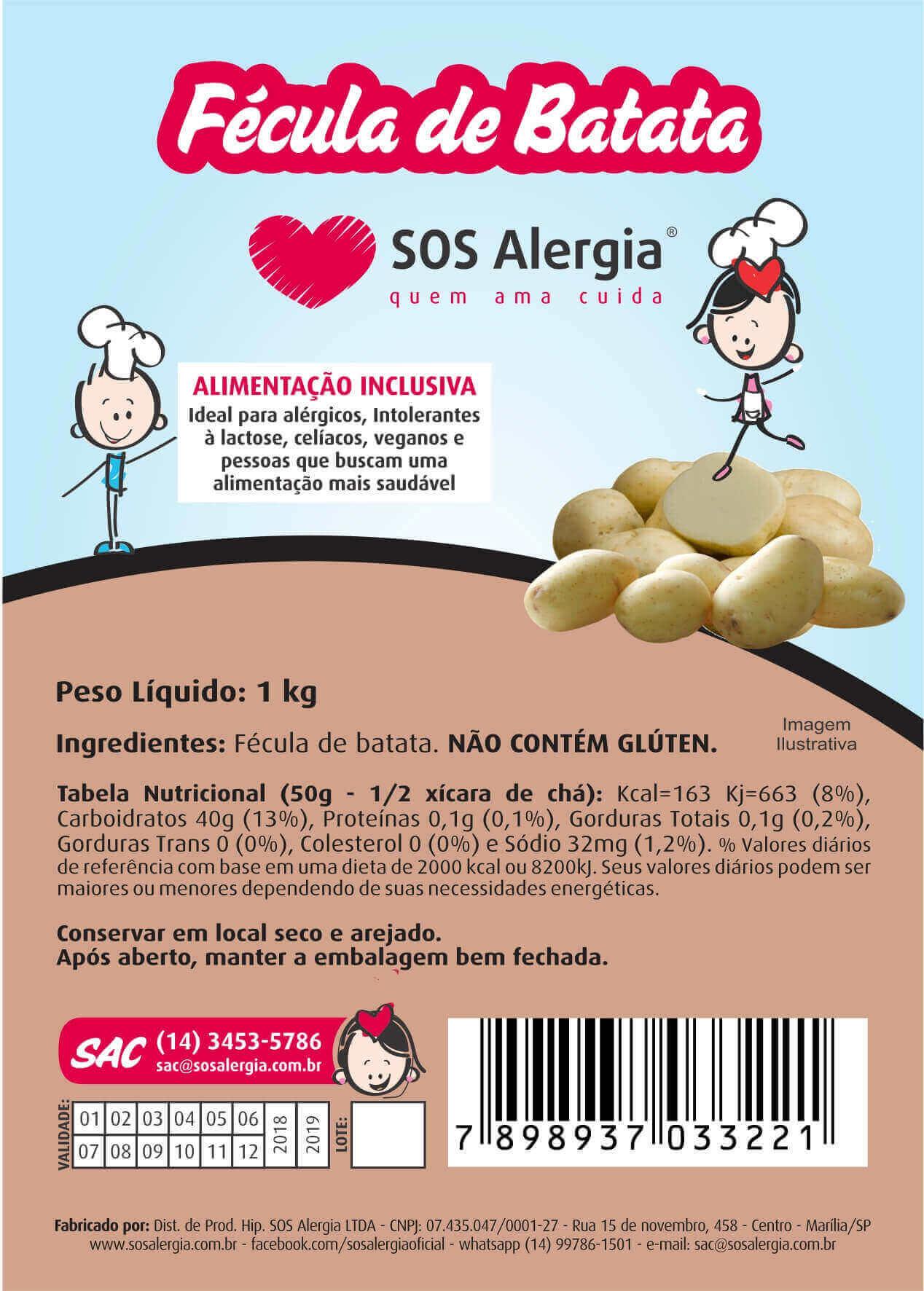 Fécula de batata Sem Gluten 1Kg