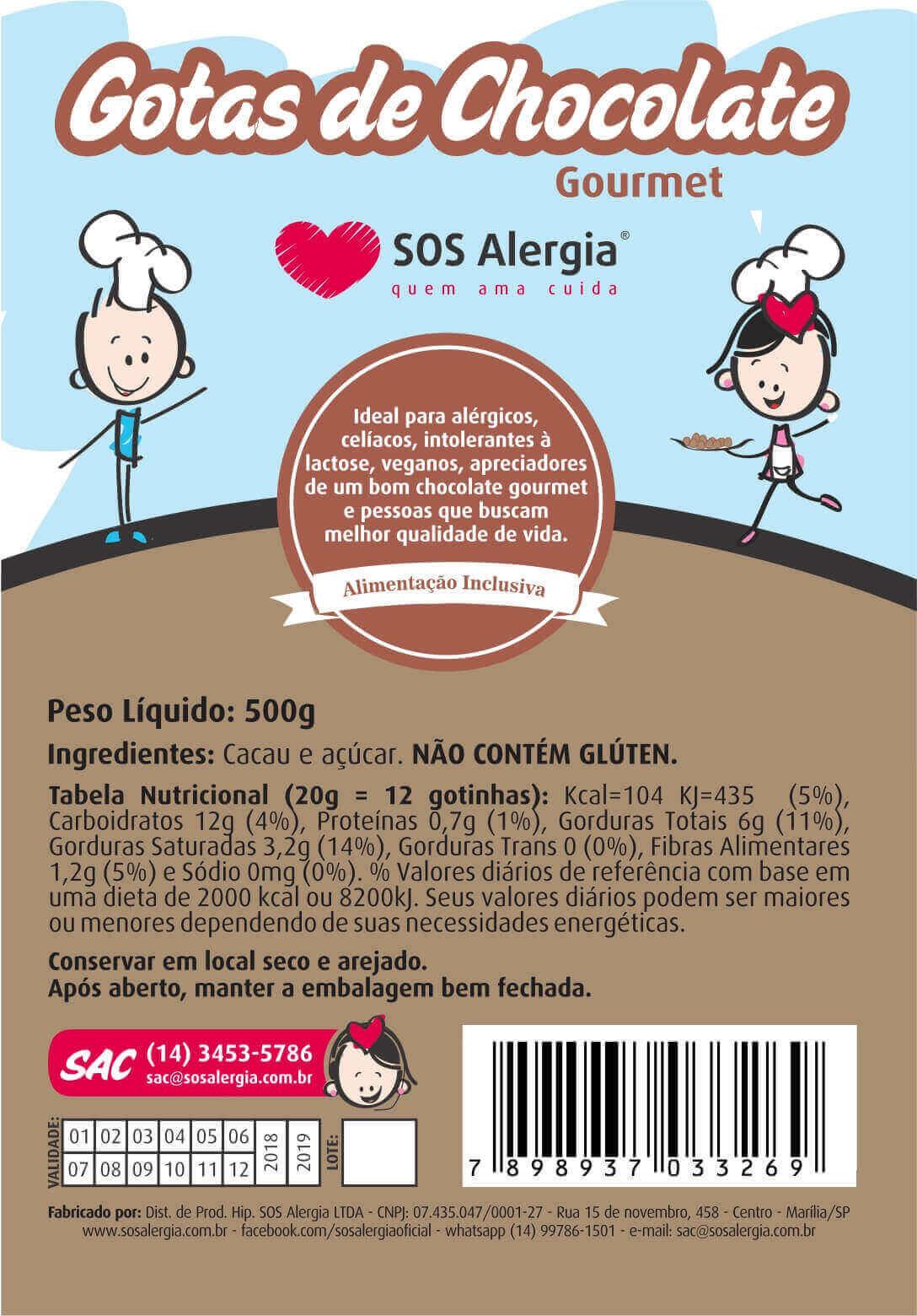 Gotas de Chocolate Sem Leite SOS Alergia 500g