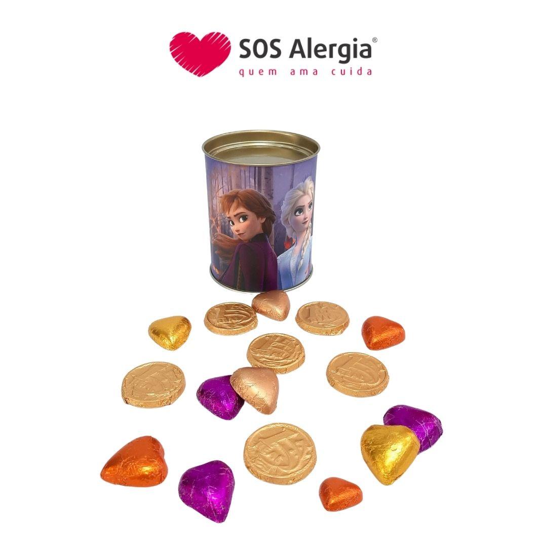 Lata Frozen com bombons de corações e Moedinha 150g