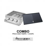 Churrasqueira a Gás Embutir Mikazza Pro 3 Standard Combo + Chapa Assadeira
