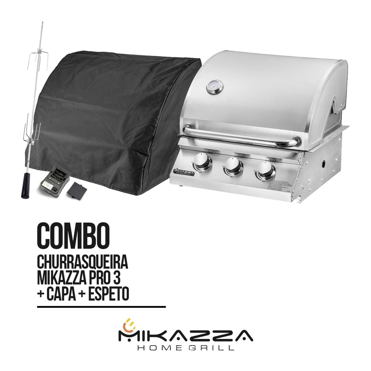 Churrasqueira à Gás Embutir Mikazza Pro 3 + Capa + Espeto