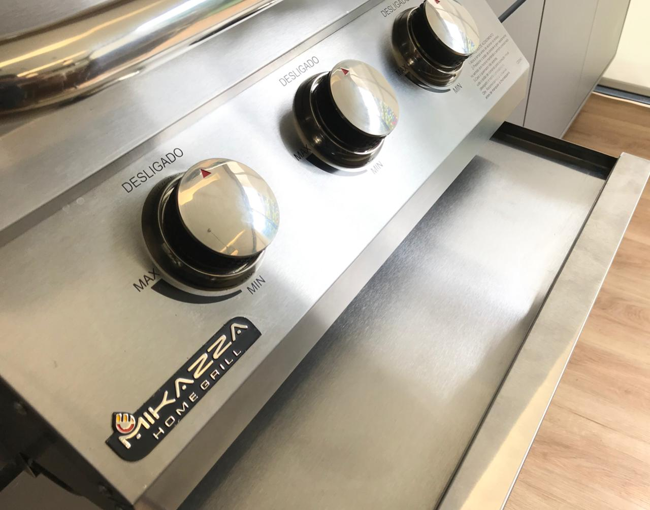 Churrasqueira à Gás Embutir Mikazza Pro 3 Combo + Capa Protetora