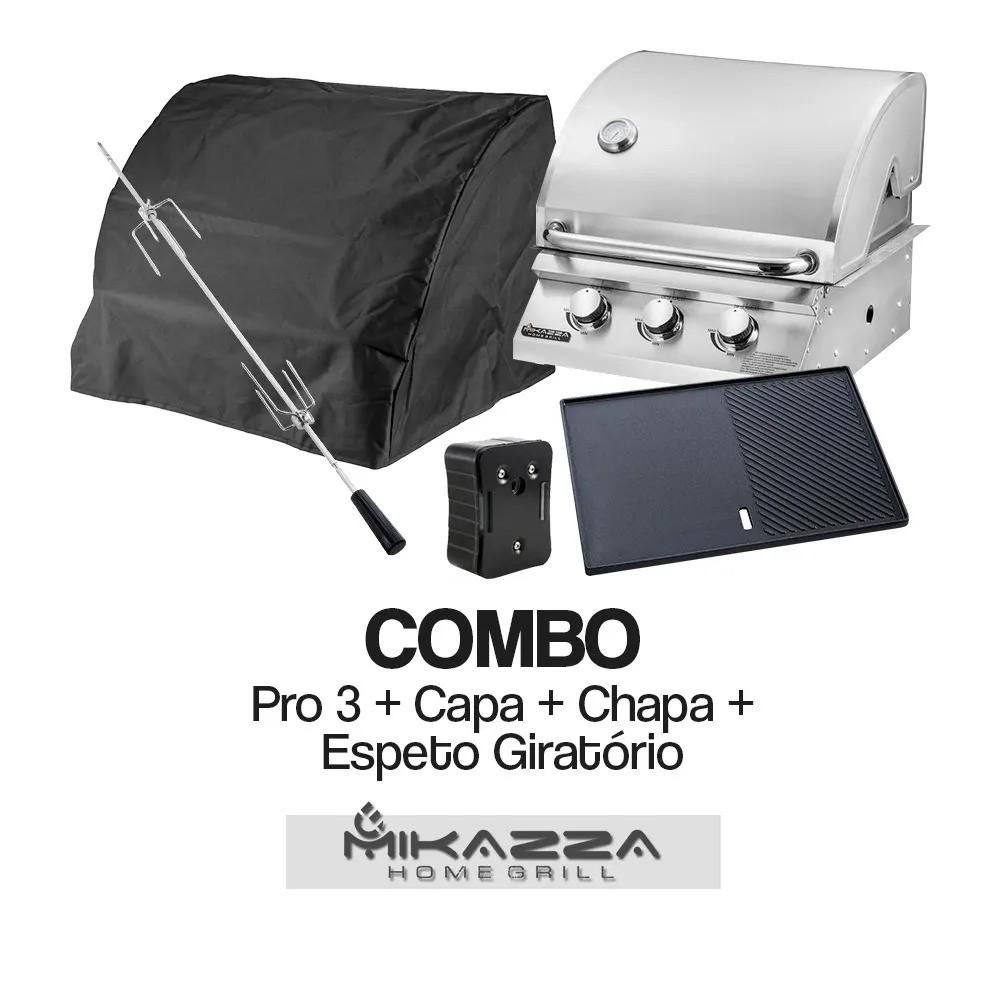 Churrasqueira à Gás Embutir Mikazza Pro 3 Combo + Chapa de Ferro Fundido + Capa Protetora + Espeto Giratório