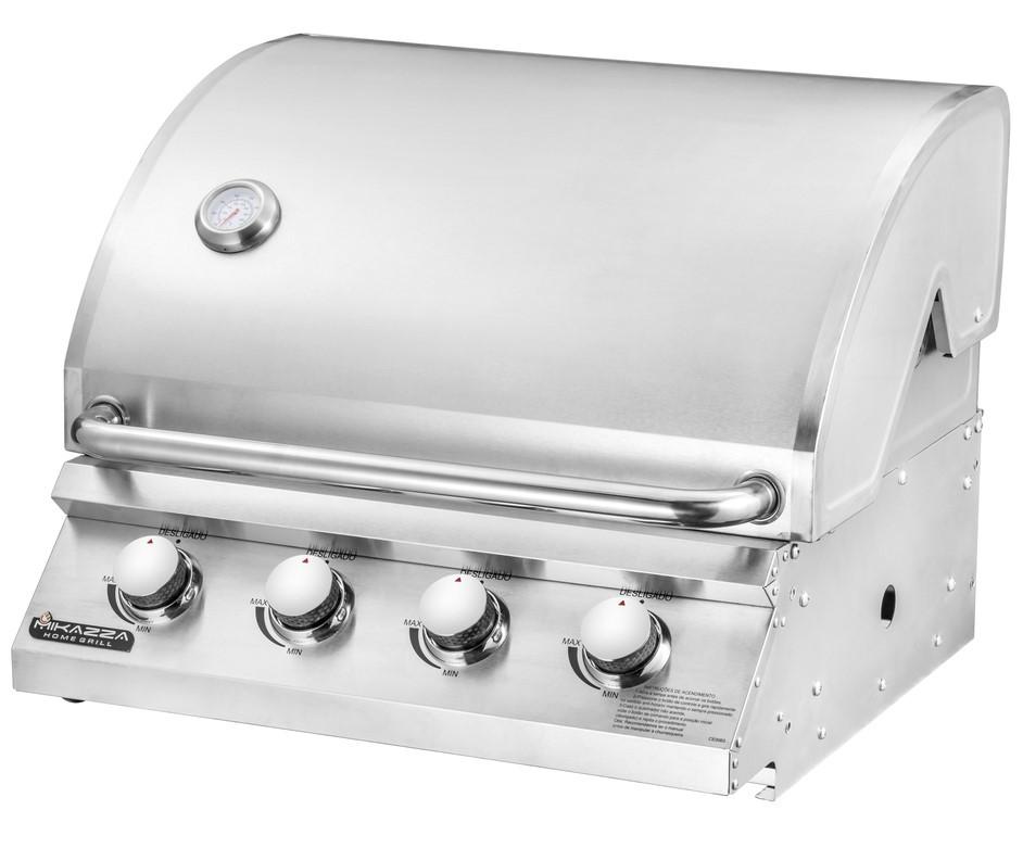 Churrasqueira à Gás Embutir Mikazza Pro 4 + Capa + Espeto