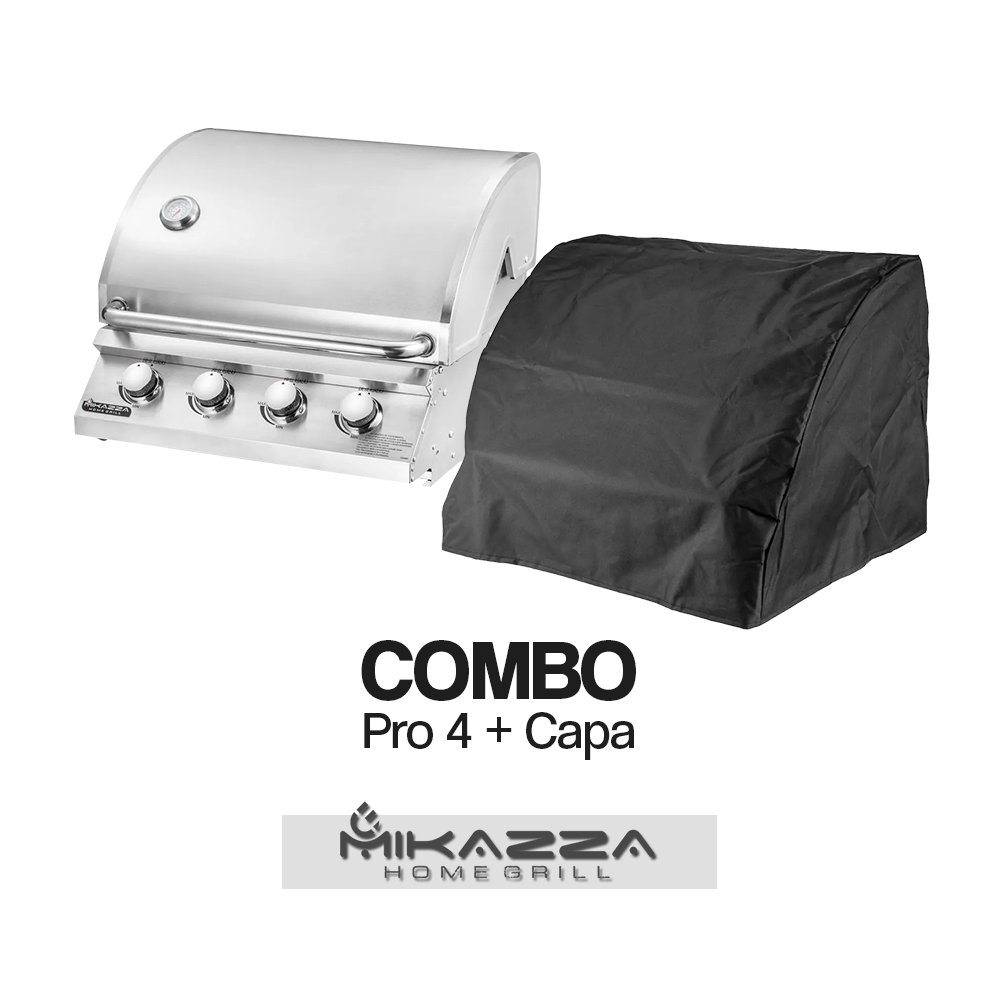 Churrasqueira à Gás Embutir Mikazza Pro 4 Combo + Capa Protetora