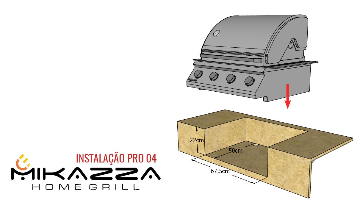 Churrasqueira à Gás Embutir Mikazza Pro 4 Combo + Chapa de Ferro Fundido