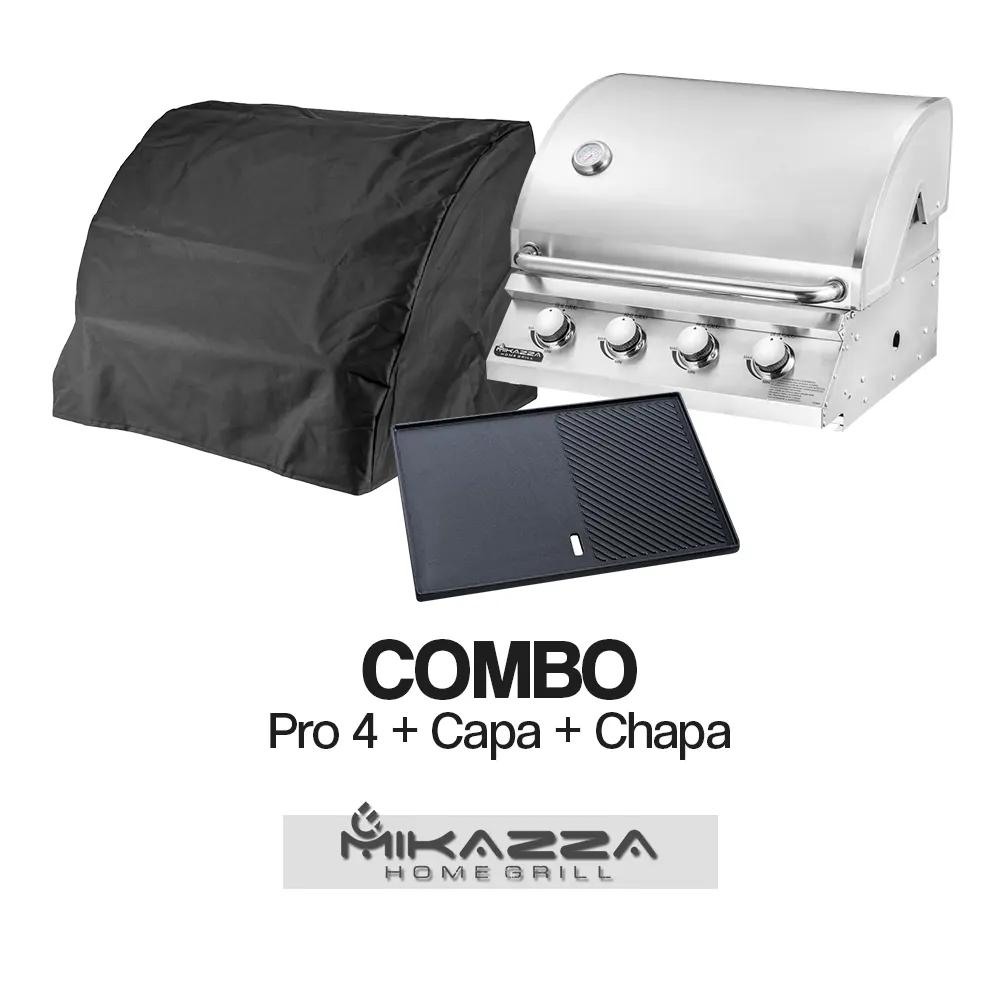 Churrasqueira à Gás Embutir Mikazza Pro 4 Combo + Chapa de Ferro Fundido + Capa Protetora