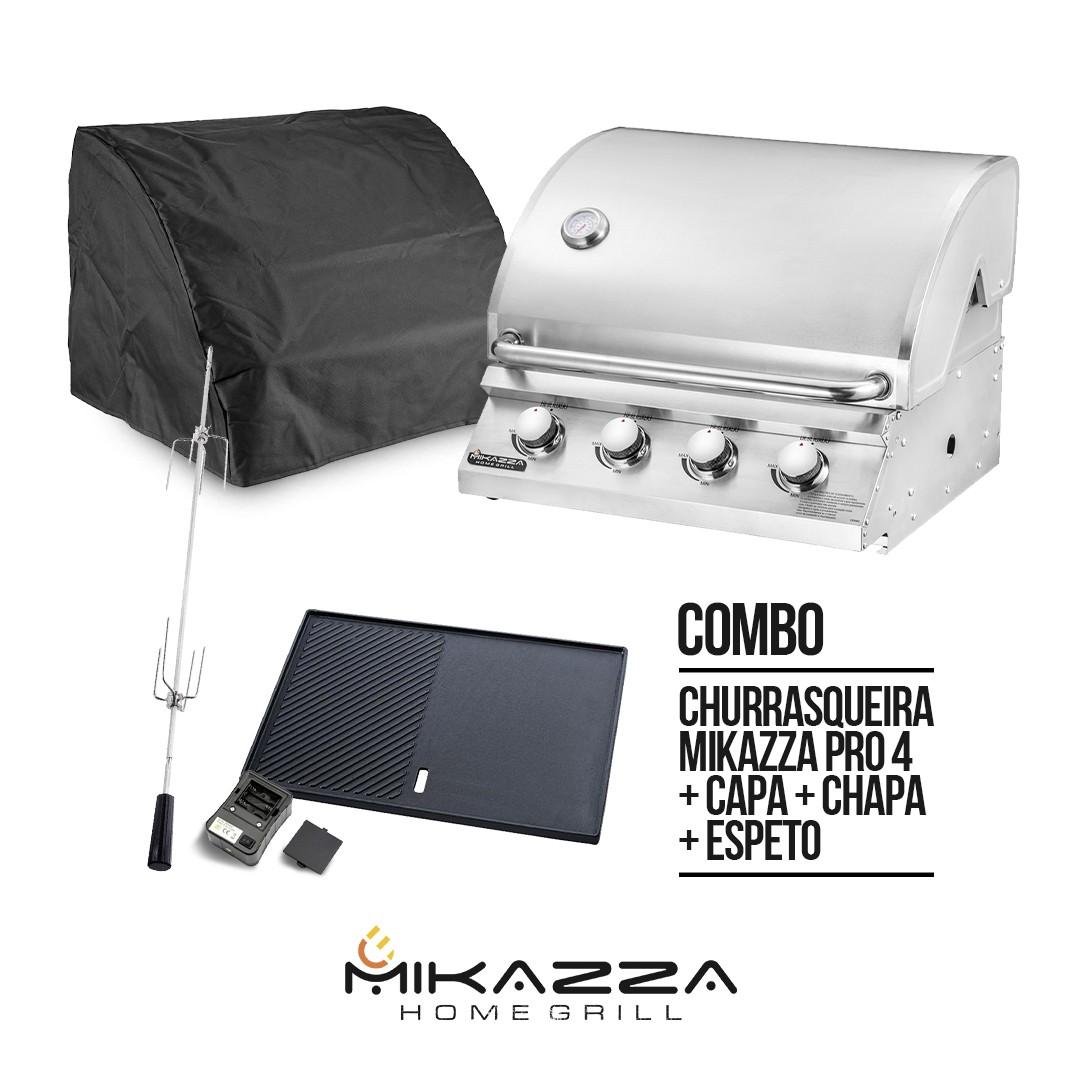 Churrasqueira à Gás Embutir Mikazza Pro 4 Combo + Chapa + Espeto Giratório + Capa Protetora