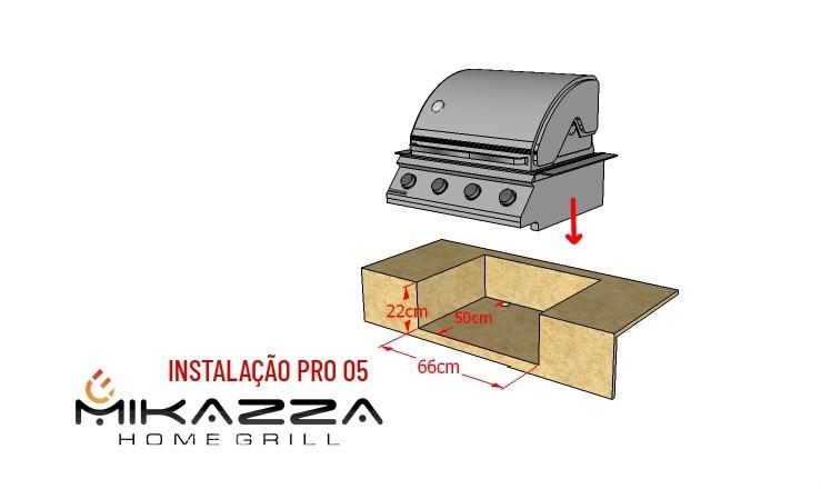 Churrasqueira à Gás Embutir Mikazza Pro 4 + Espeto Giratório