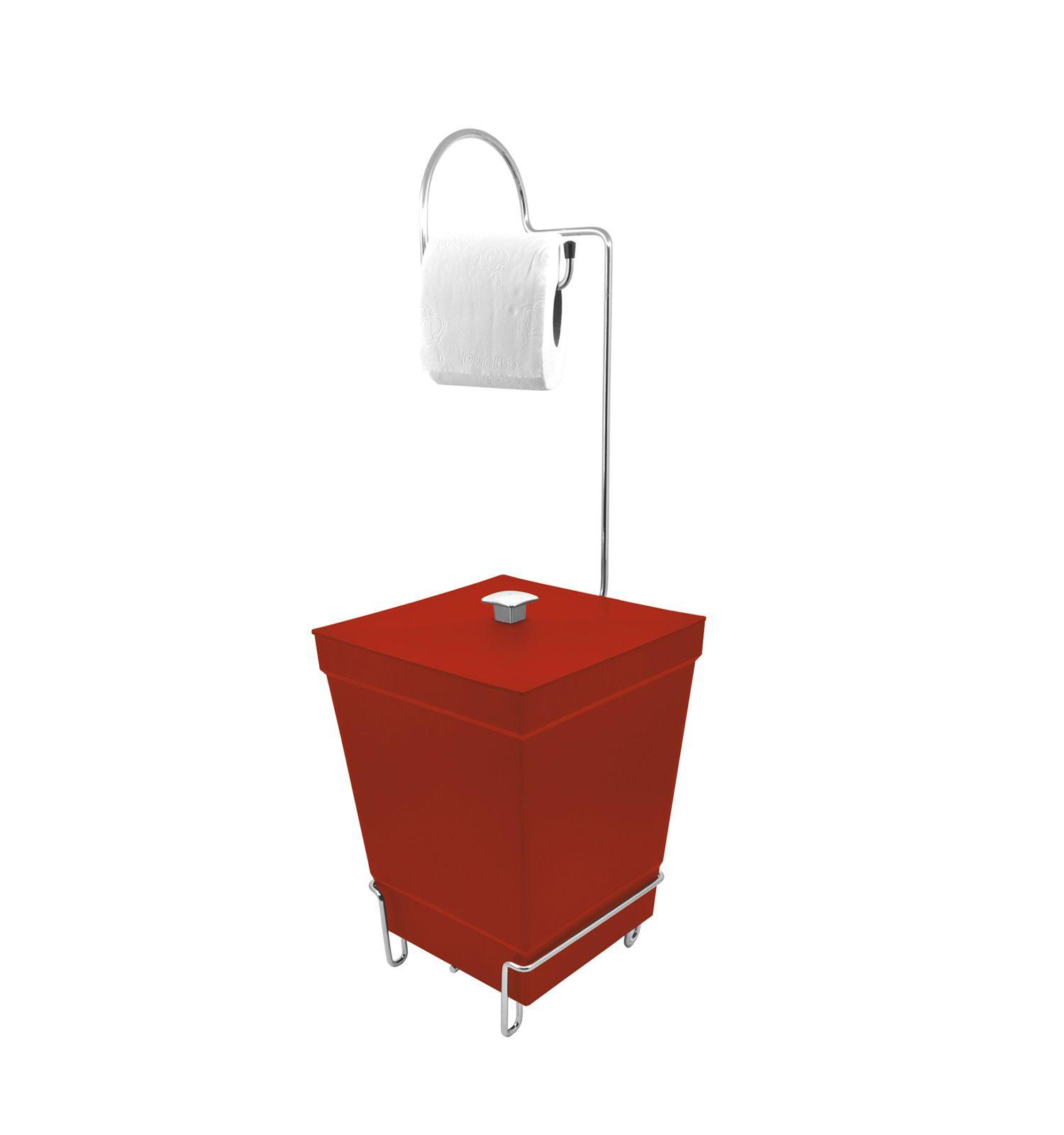 Kit 2 Lixeira + Suporte de papel Higiênico