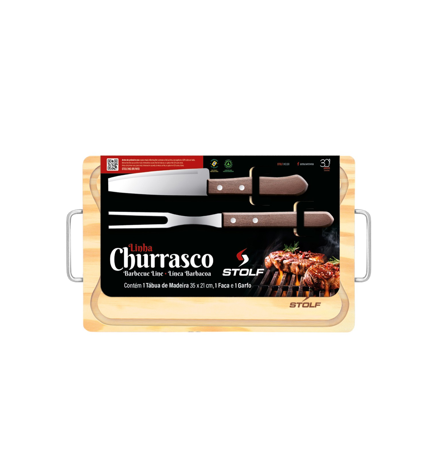 Kit Churrasco Pinus 35x21 Personalizado