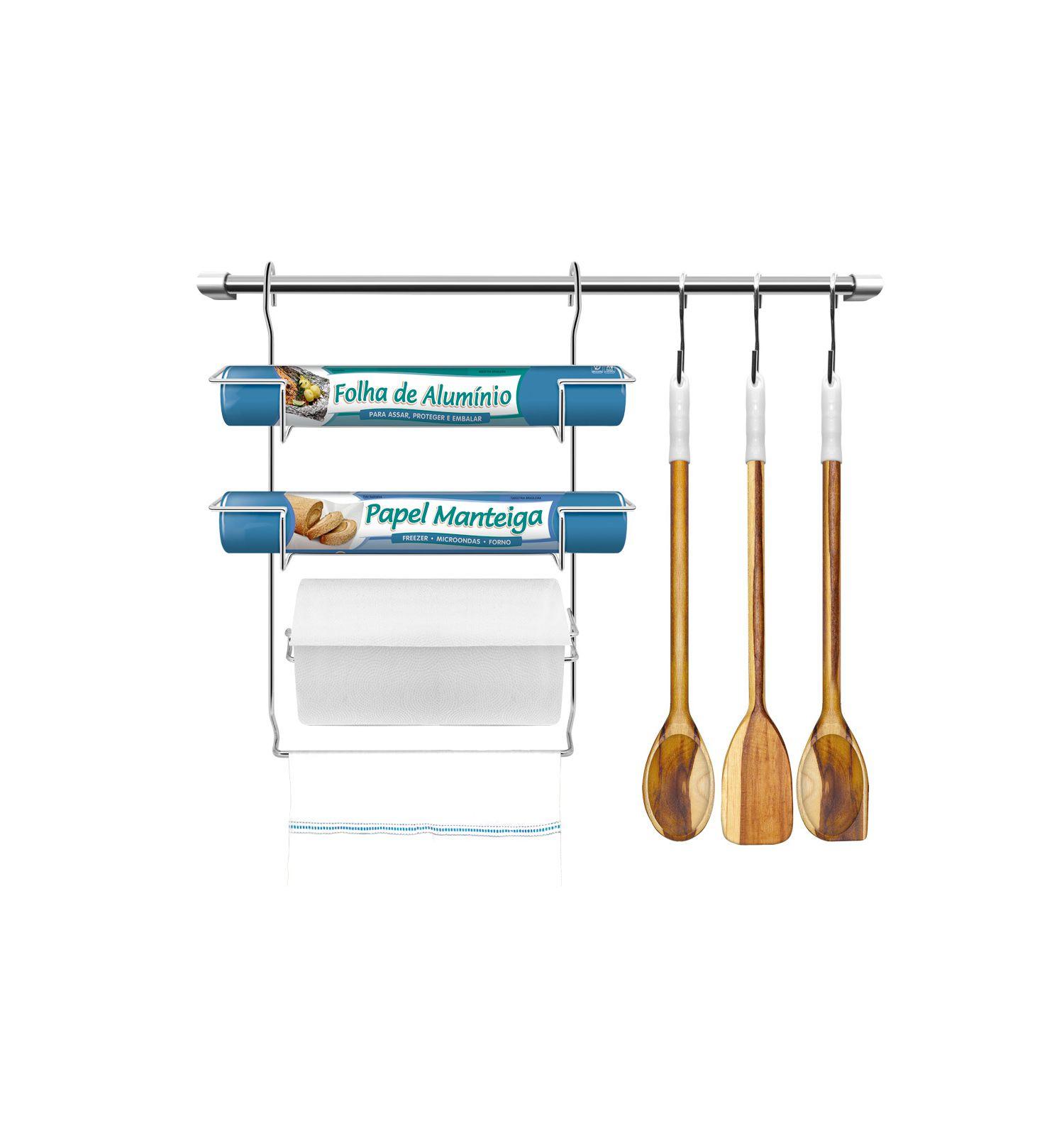 Kit Cozinha Suspensa com Porta Rolos