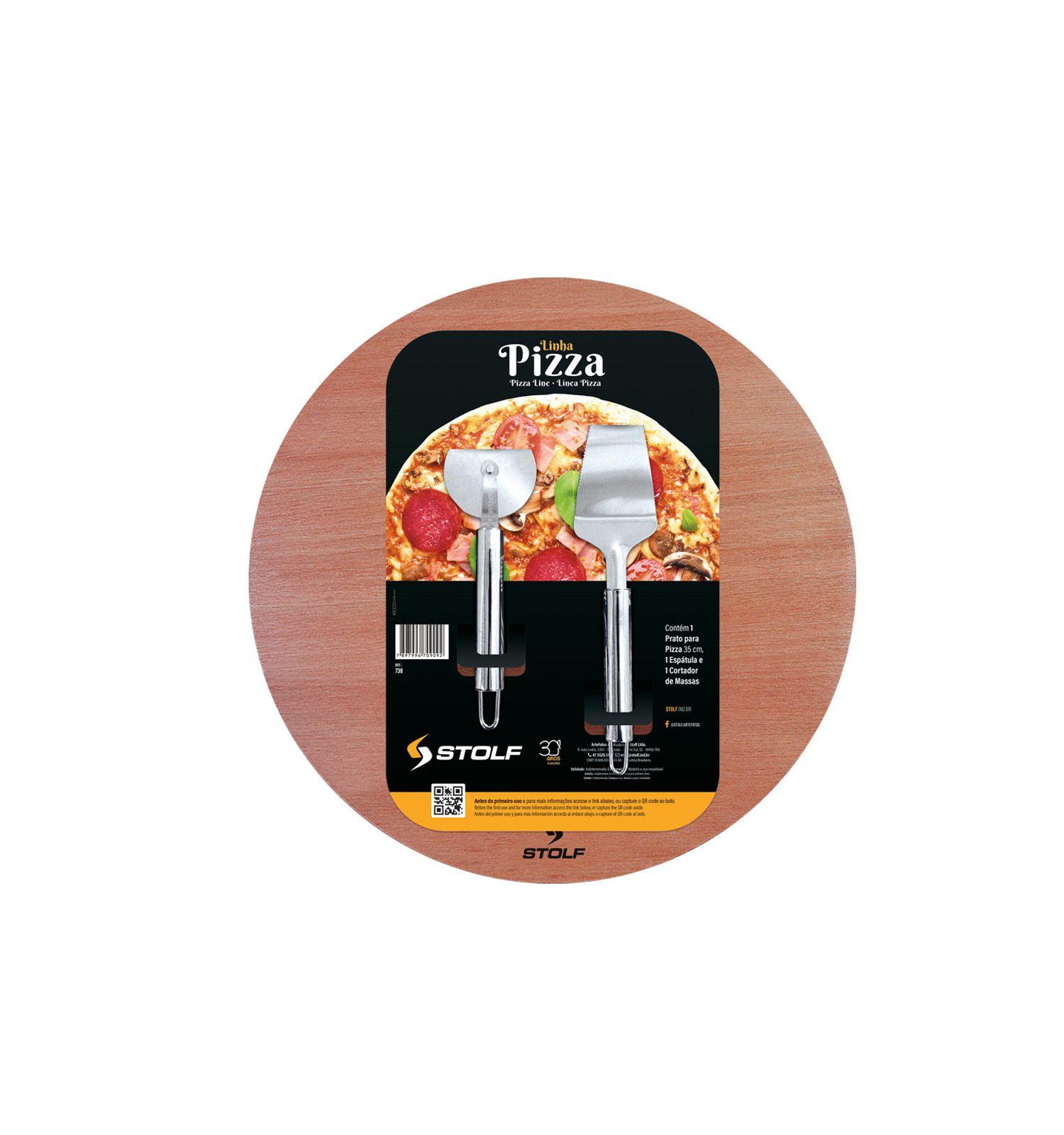 Kit Pizza com Prato + Espatula + Cortador