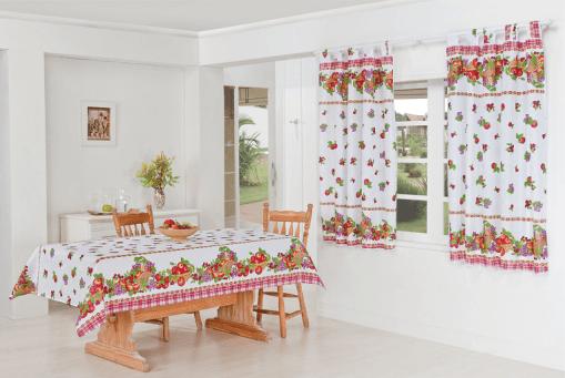 Kit Cozinha Toalha Mesa/Cortina Nobre  1,45m x 1,30m