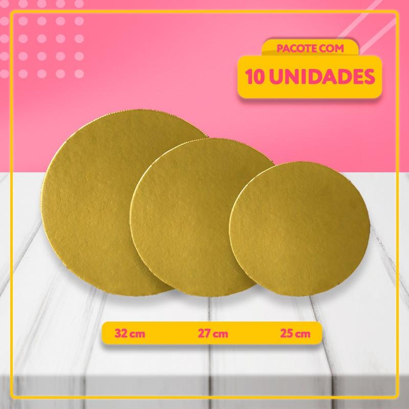 Base Laminada Para Bolos - Cakeboard Dourado (3 Tamanhos)