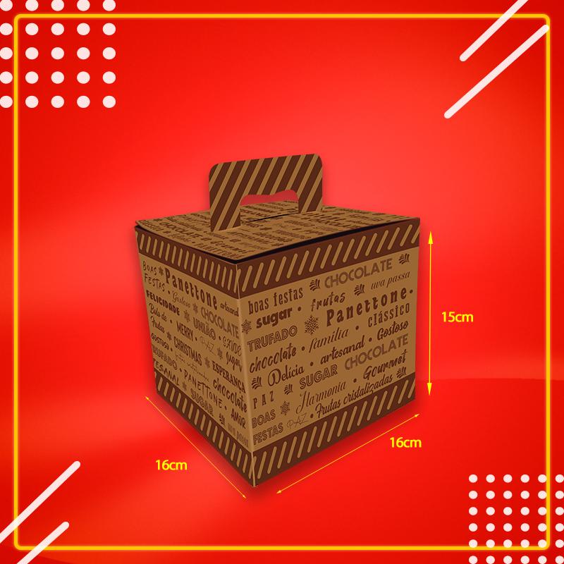 Caixa Embalagem para Panettone KRAFT 500g c ALÇA - 50 Unidades