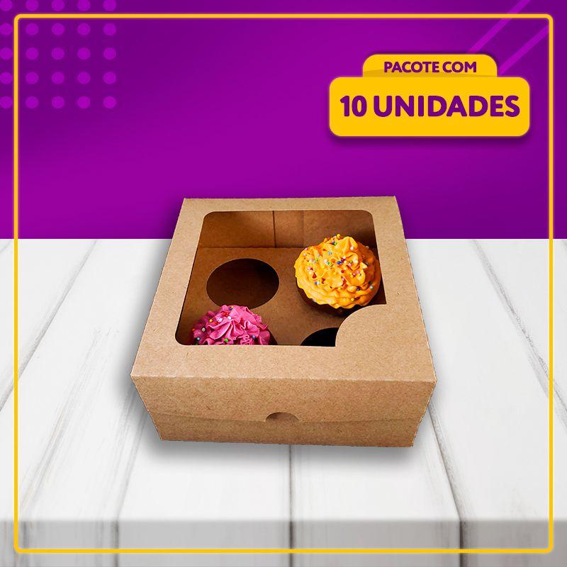 Embalagem para 4 Cupcakes (KRAFT)