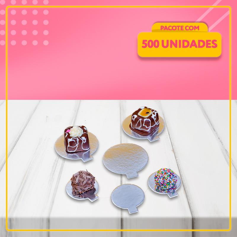 Suporte Doces Laminado Prata - 500 unidades