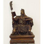 Guardião Guan Di no Trono - grande (em bronze)