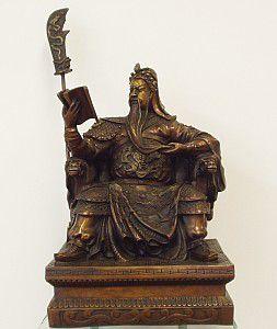 Guardião Guan Di no Trono - grande (em bronze)  - VIRAJ